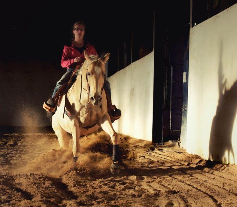 Verena Hoetter reitet das Reining Manöver Sliding Stop mit einem Quarter Horse